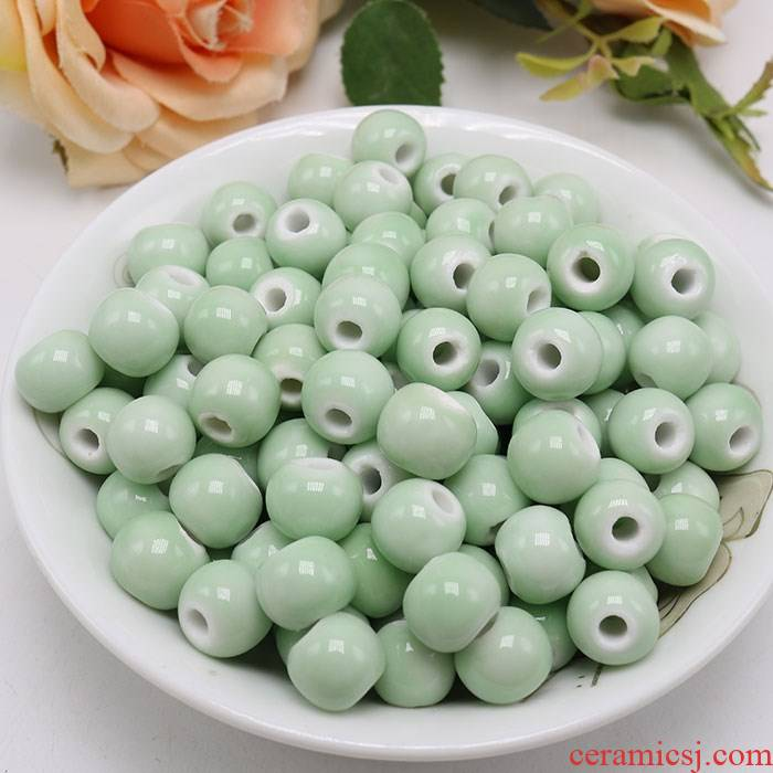 Pea - green ceramic beads Pea green jade green color pure color candy color porcelain beads beads 6 mm