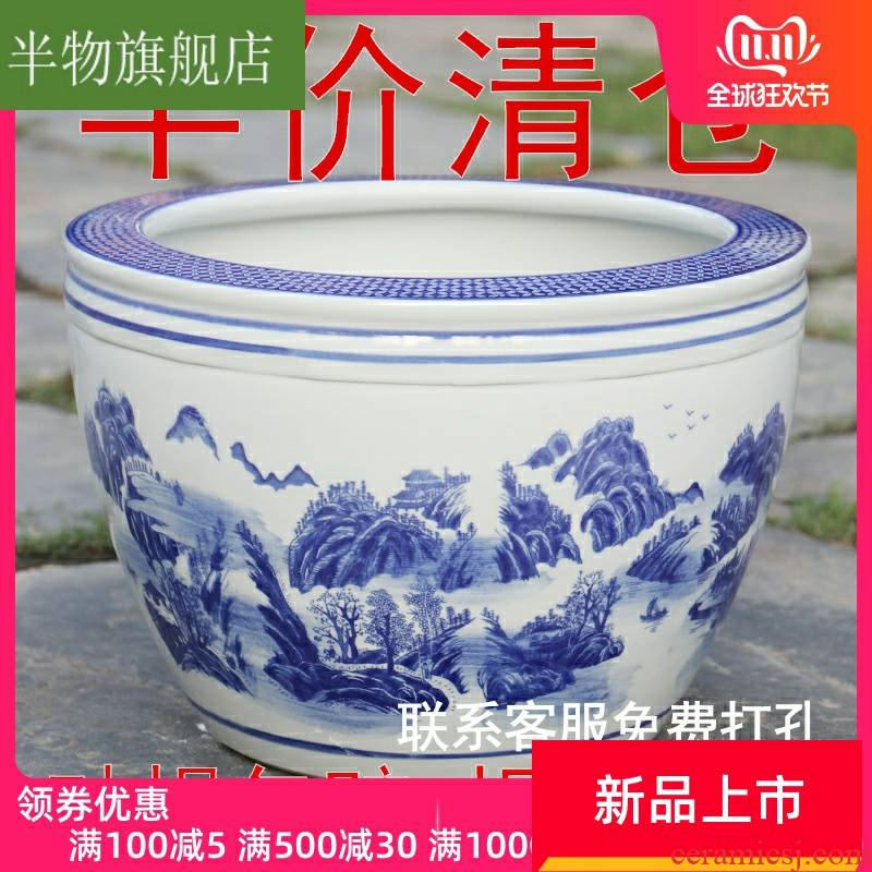 Water lily flower pot blue and white porcelain bowls LianHe flowerpot jingdezhen ceramic cylinder of cycas heavy flowerpot courtyard tank