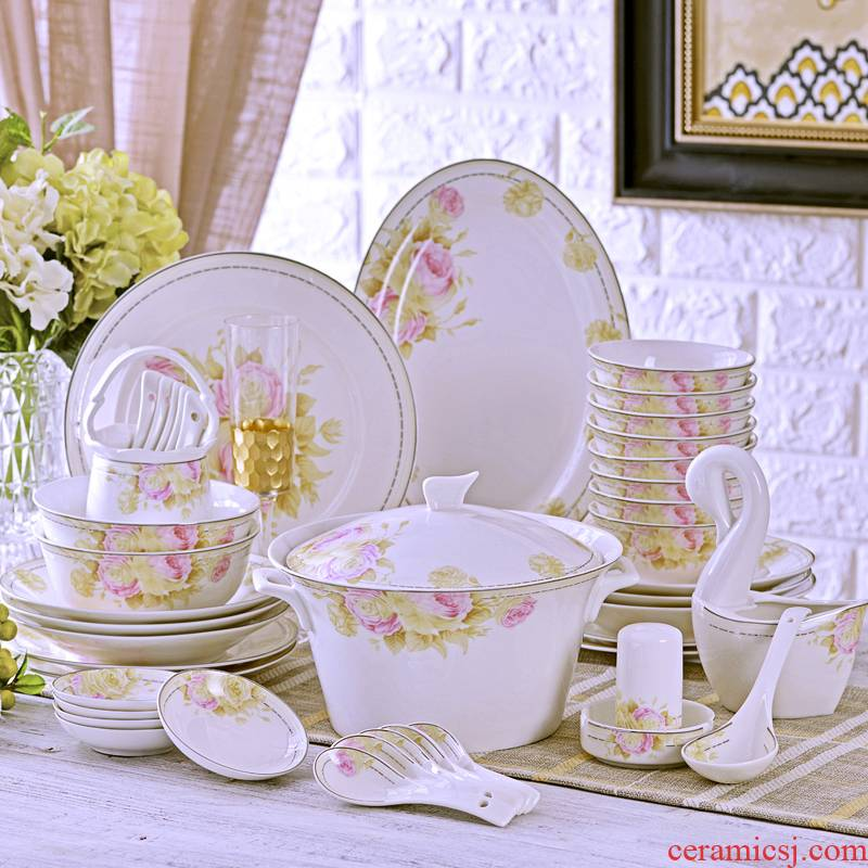 The Open tableware suit 60 head jingdezhen bowls of ipads plate chopsticks tall bowl to send gift set fair as the wind