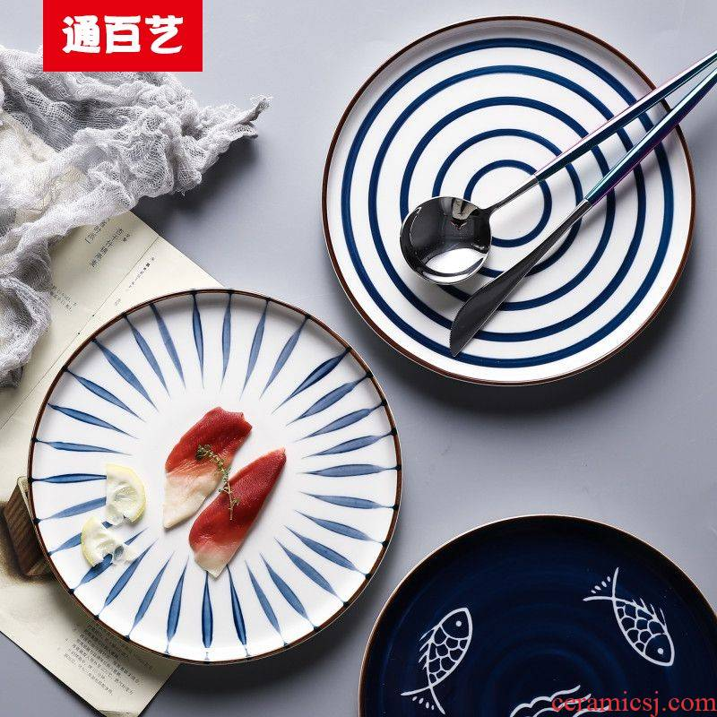 Tong baiyi hand - made ceramics steak dinner plate 0 round flat home art restoring ancient ways the dessert plate tableware