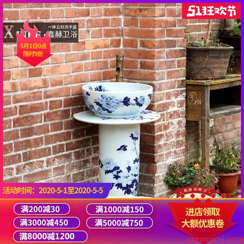 Vertical lavabo ceramic column household toilet basin is suing one landing the pool that wash a face of blue and white porcelain basin
