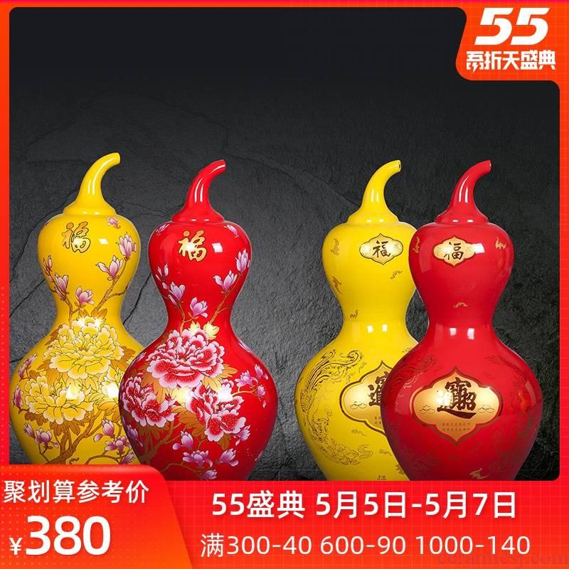 Jingdezhen ceramic floor big vase a thriving business gourd bottle home sitting room porch decorate place feng shui