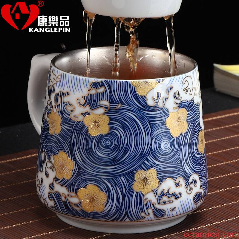 Recreation is tasted silver cup 999 sterling silver colored enamel porcelain cup with cover glass coppering. As silver blue office filtering