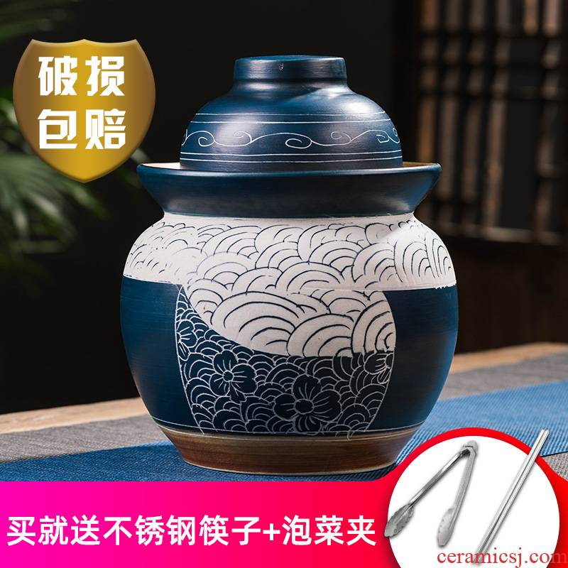 Ceramic pickle jar earthenware pickle jar home old seal pot of salted duck egg carving thickening sichuan jars