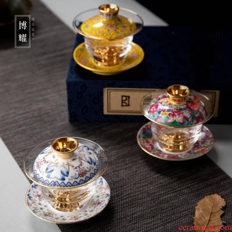 Bo yiu-chee ceramic colored enamel glass tureen large cups upset three to make tea bowl tea set home