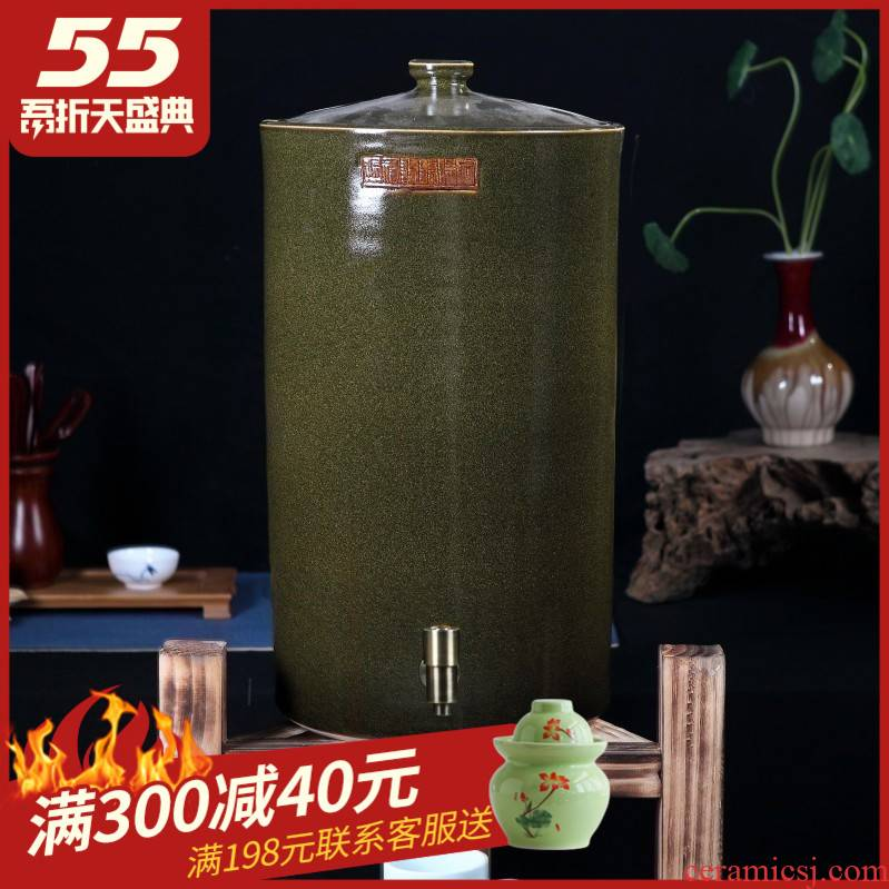 Ceramic jars cylinder tank it 50 kg 100 jins of the big bucket of jingdezhen tea at the end of the cylinder with the tap