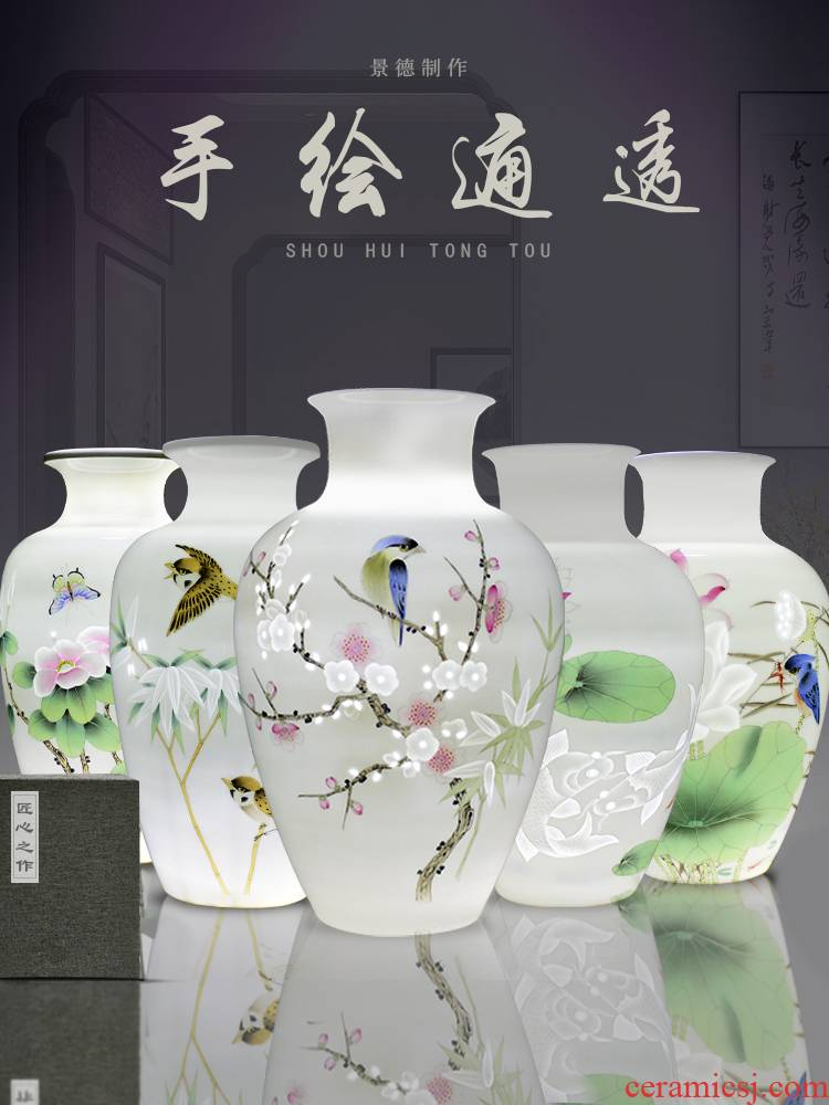 Jingdezhen ceramics new Chinese hand - made dried flower vases, flower arrangement bedroom household furnishing articles, the sitting room porch decoration