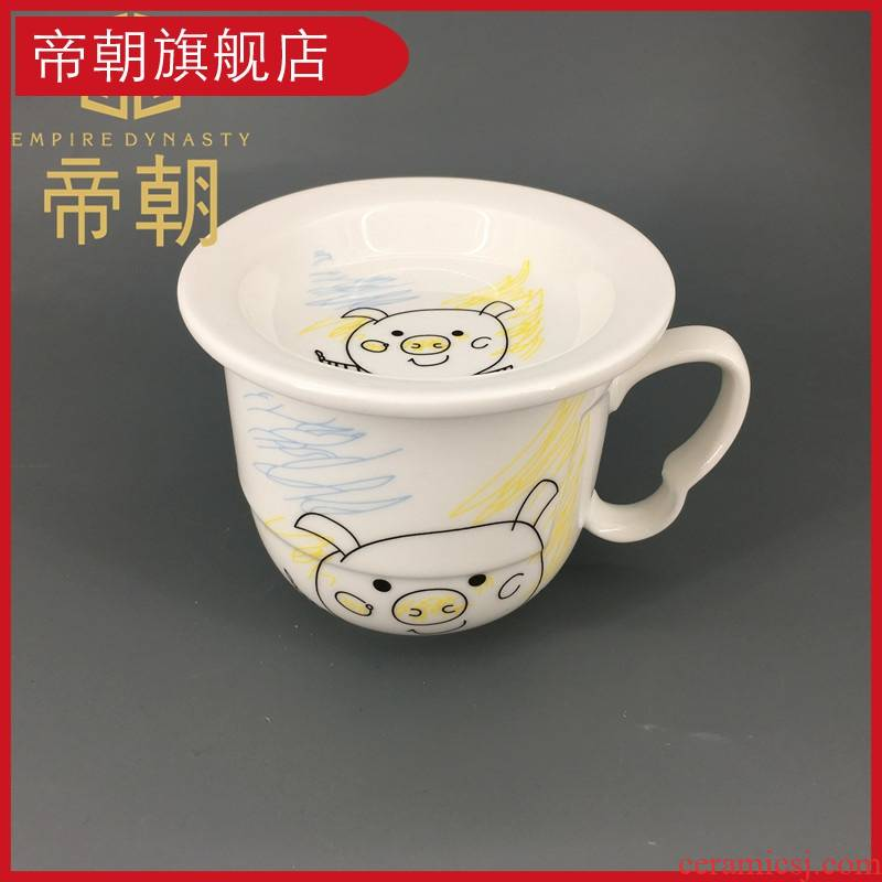 Emperor the mark cup creative glass ceramic cup with cover cereal coffee cup express picking cups milk cups