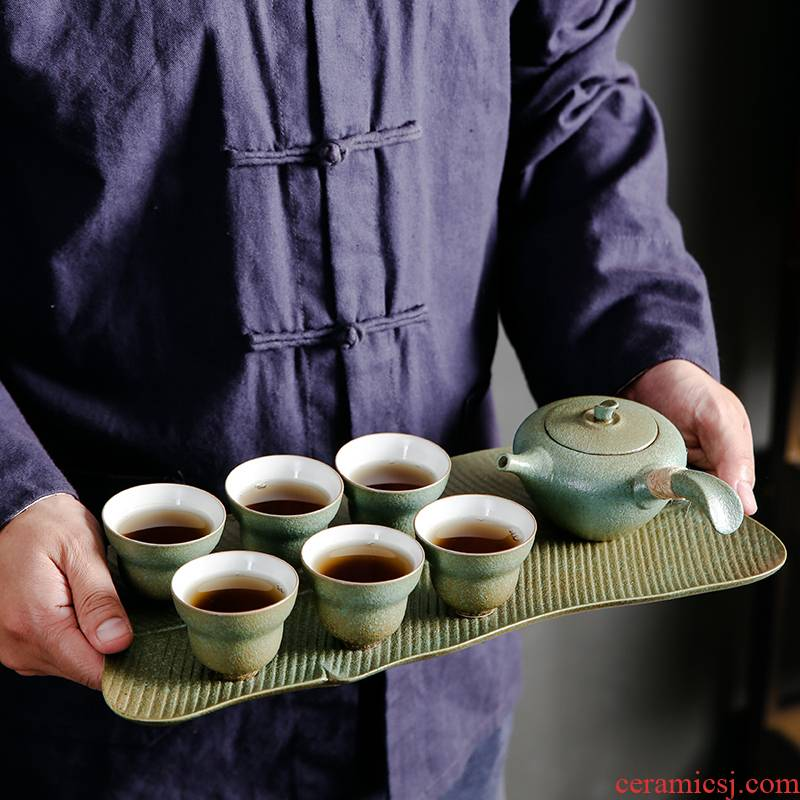 Bo yiu-chee coarse pottery banana leaf tea tray tea set ceramic household contracted dry teapot teacup tea gift sets