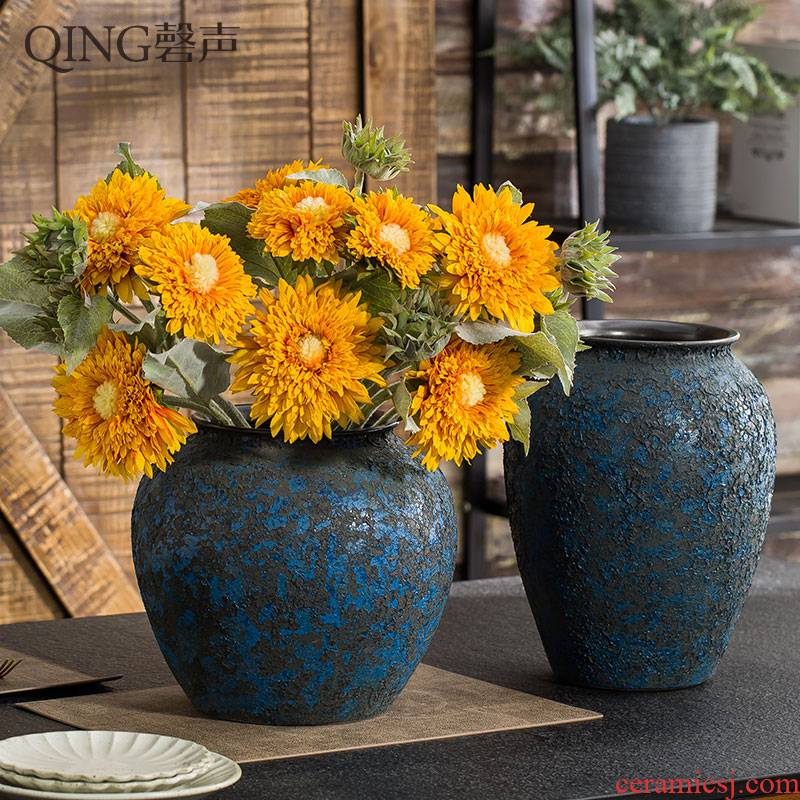 Ceramic vase furnishing articles dried flower arranging flowers sitting room decoration of Chinese style restoring ancient ways creative home desktop decorative pottery by hand