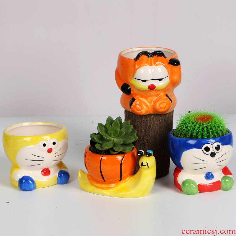 Fleshy flowerpot creative cartoon small size ceramic flower pot office desktop Fleshy celestial being with lovely and fun