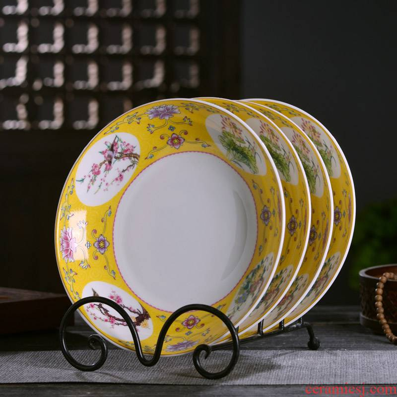 Jingdezhen ceramics 8 inches deep flavor can set Chinese style household tableware antique plate ipads porcelain enamel cooking dishes