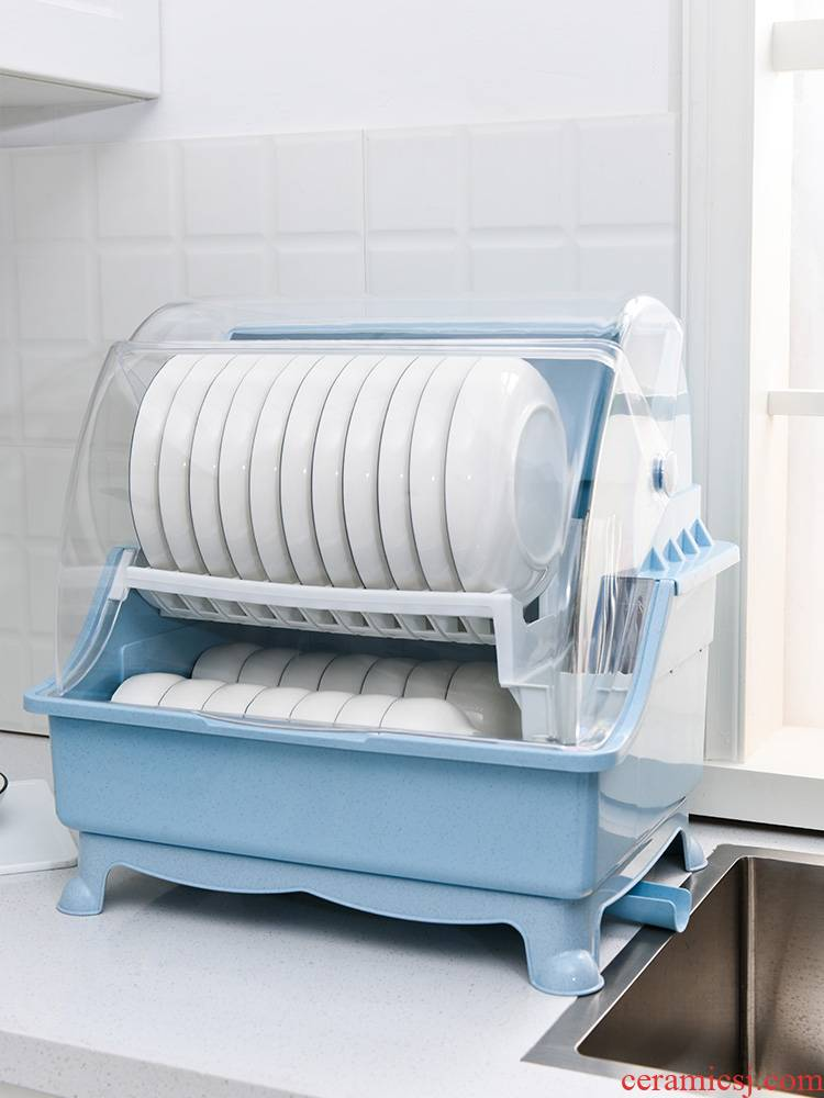 Receive a box with a lid to put to use to heavy plastic large double closed always put tableware dish rack shelf rack drop