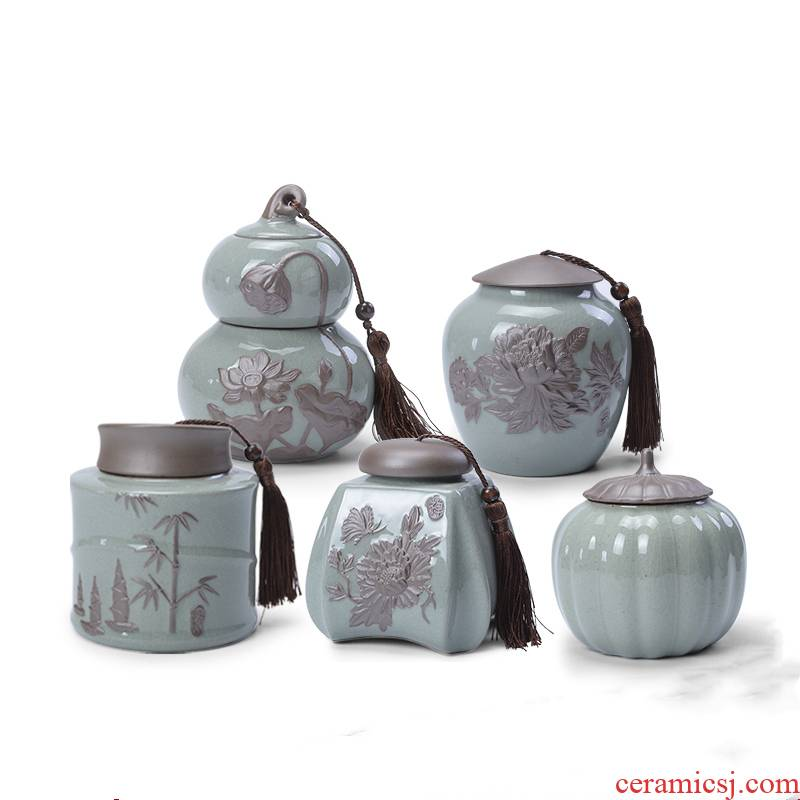 Ronkin medium to ceramic seal moisture tea caddy fixings box elder brother up gourd storage tank tea boxes