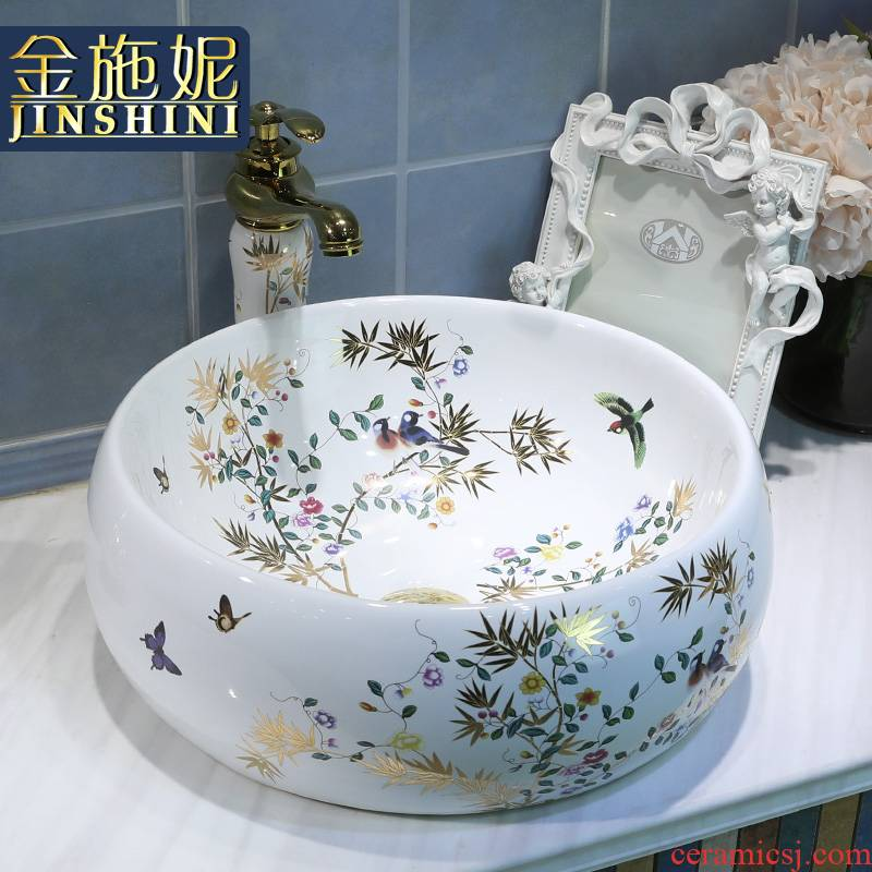 Gold cellnique ceramic lavatory pool of wash one's hands stage basin small size bathroom sink home outfit modern flowers and birds