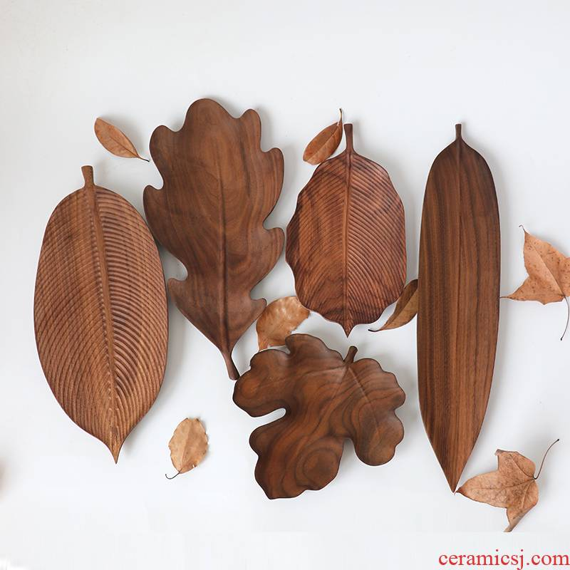 Black walnut plates manually leaf disc household snack plate compote creative Japanese wooden tray tea tray