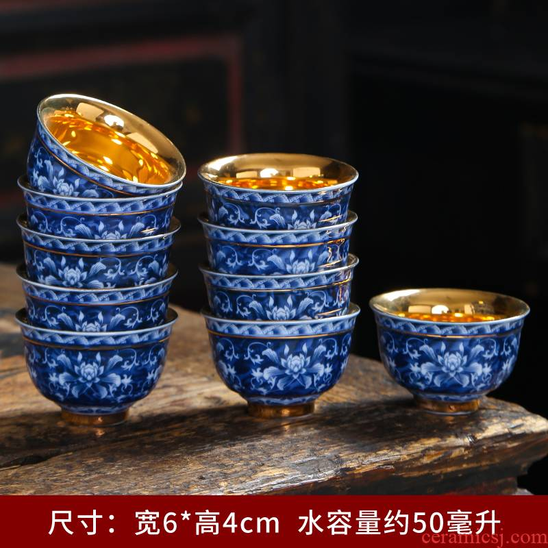 Colored enamel porcelain cups retro sample tea cup masters cup single CPU thin foetus kung fu tea set small household cup only