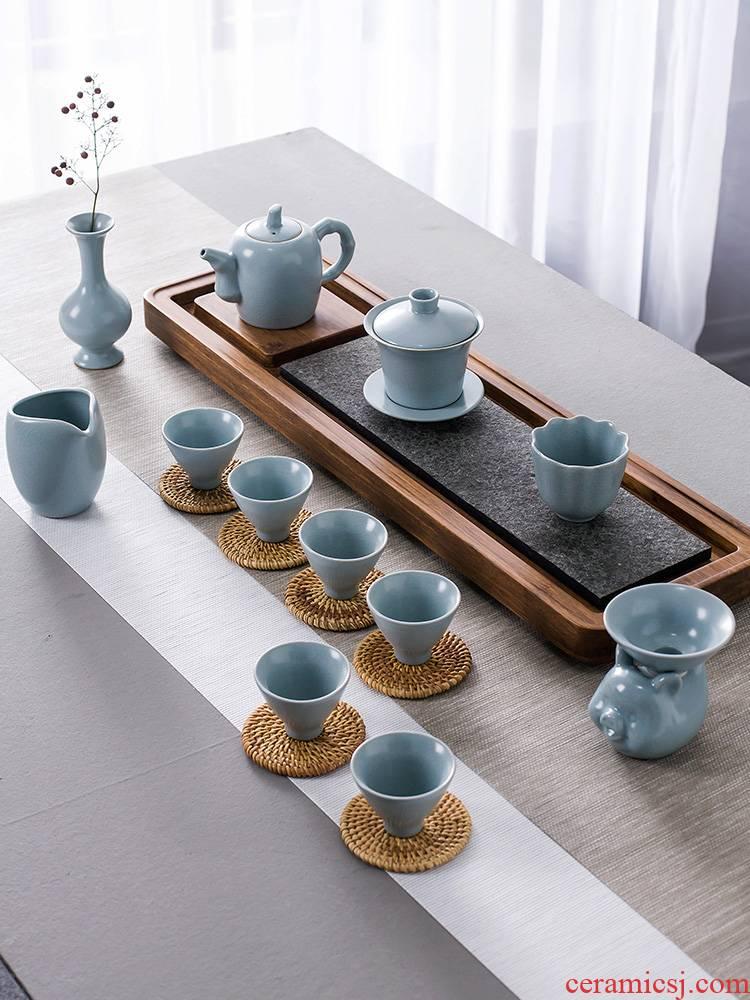 And your up kung fu tea set household jingdezhen ceramic teapot tea pot lid bowl of a complete set of tea cups