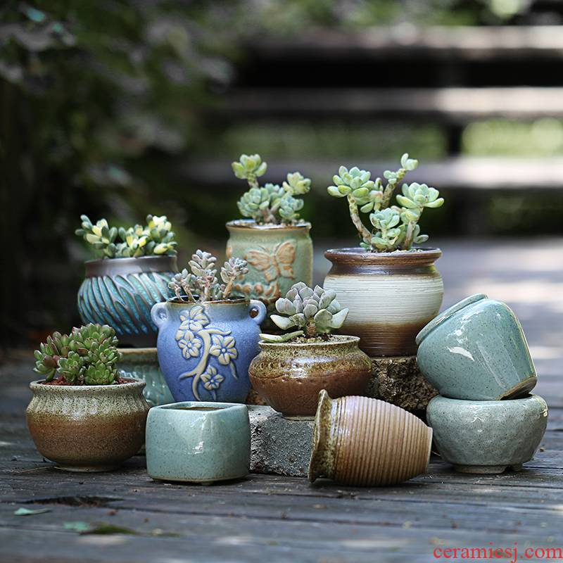 Xu jin fleshy basin creative coarse pottery flowerpot ceramic thumb to restore ancient ways small old running the flesh POTS with special offer a clearance package of mail