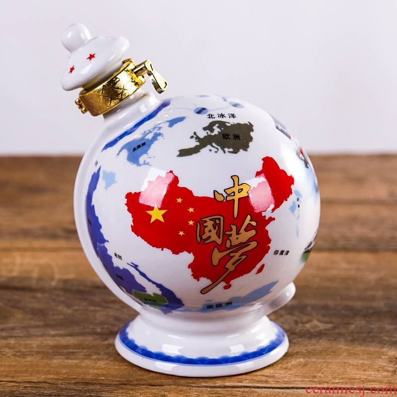 Jingdezhen ceramic bottle 1 catty globe sealed empty bottle wine wine furnishing articles suit creative decoration
