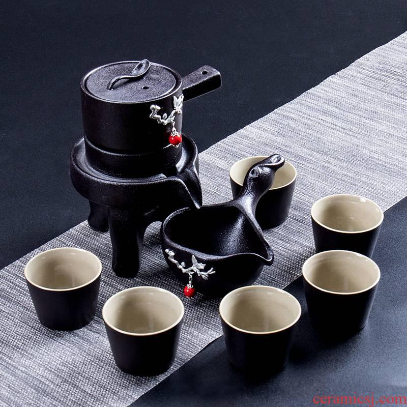 Household contracted automatic ceramic tea set lazy people make tea machine fit black pottery pot office kung fu tea set