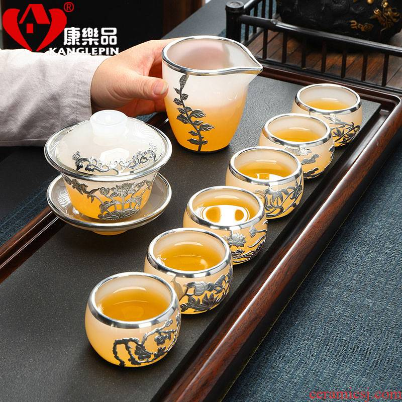 Recreational product an inset jades coloured glaze jade porcelain kung fu tea set with silver tureen fair keller cups of a complete set of gift boxes