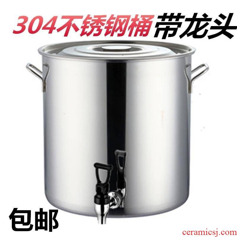 The Food grade stainless steel barrel with cover water barrel oil drum ricer box soup barrels of high capacity thickening drum detong induction cooker