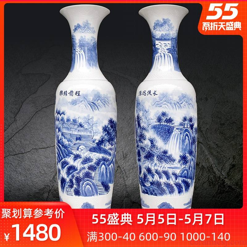 Jingdezhen ceramics hand has a long history in the bright future of large blue and white porcelain vase hotel furnishing articles in the living room