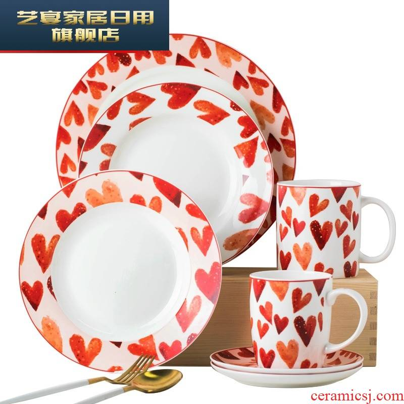 The Original girl heart dishes suit one household web celebrity breakfast food ceramic good - & tableware to eat dish bowl