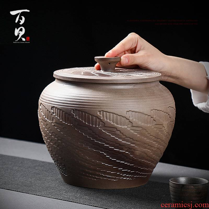To burn large tanks ceramic tea tea caddy fixings store tea POTS awake household seal tea barrel of big yards