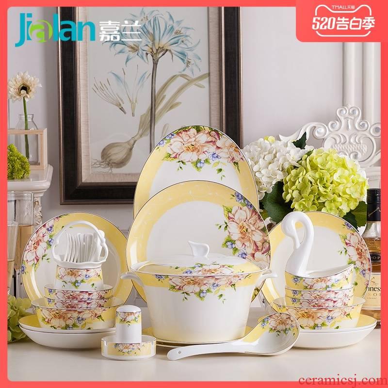 Garland ipads porcelain home dishes suit European only beautiful eat fresh creative portfolio ceramic bowl chopsticks sets plate