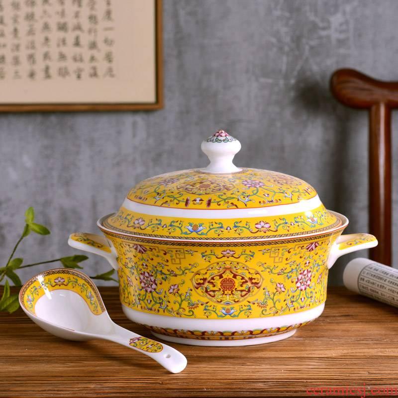 Jingdezhen with cover ears against the hot ceramic pot of soup pot soup bowl suit creative large household ipads porcelain bowl of soup bowl
