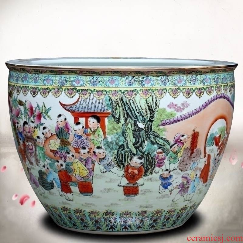Jingdezhen ceramics hand - made figure baby play the lad goldfish bowl lotus cylinder tortoise calligraphy and painting cylinder sitting room big furnishing articles
