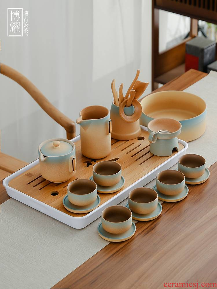 Bo yiu-chee coarse pottery kung fu tea set ceramic teapot teacup tea of a complete set of household contracted Japanese small tea table