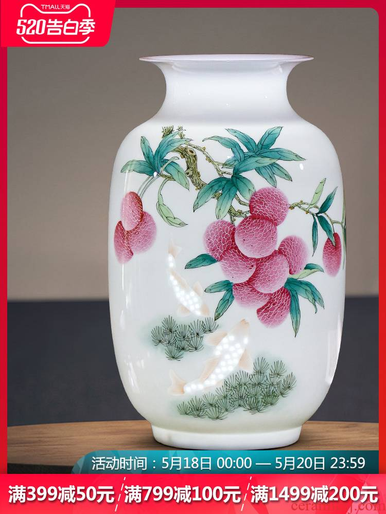 Jingdezhen ceramics thin body porcelain vase flower arrangement of Chinese style rich ancient frame porch sitting room adornment household furnishing articles