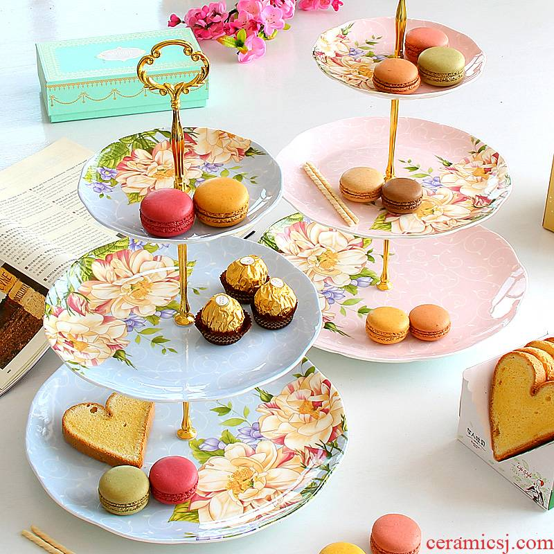 European snack plate of three the layers of fruit bowl ipads porcelain dim sum afternoon tea dried fruit dish ceramic cake