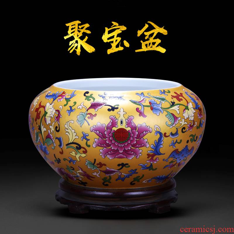 Jingdezhen ceramics feng shui plutus aquarium cornucopia water lily flower pot of tea to wash to writing brush washer water shallow place ornament