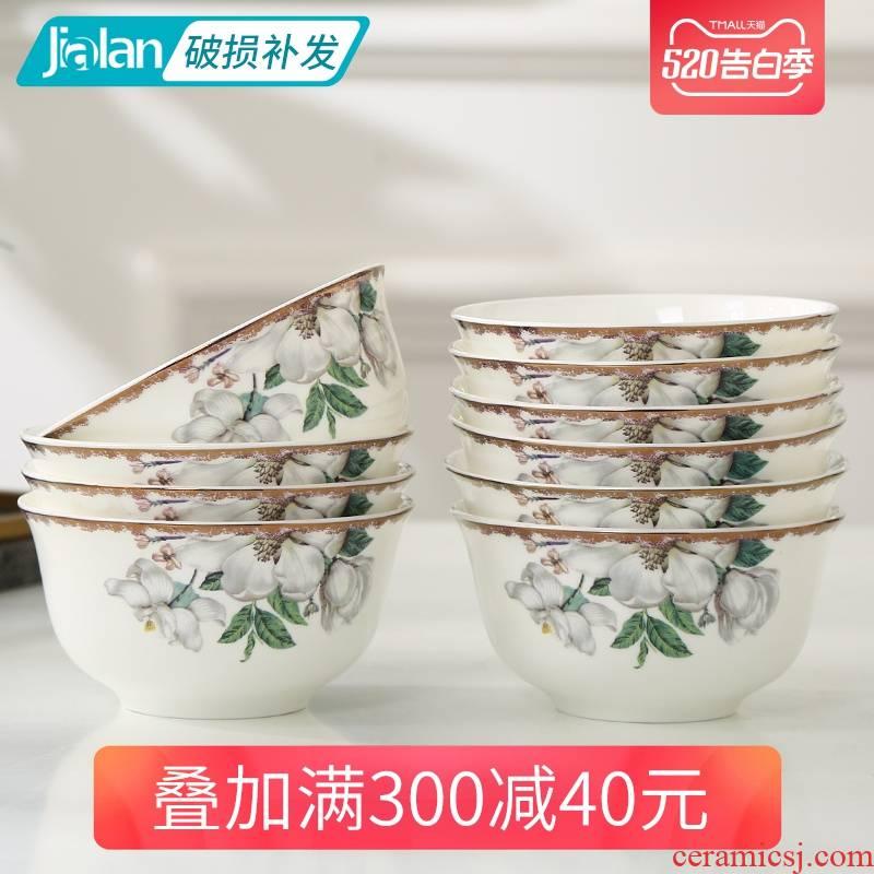 Tangshan garland ipads porcelain tableware kapok optional collocation boiler bowl spoon, plate Korean fresh ceramic tableware