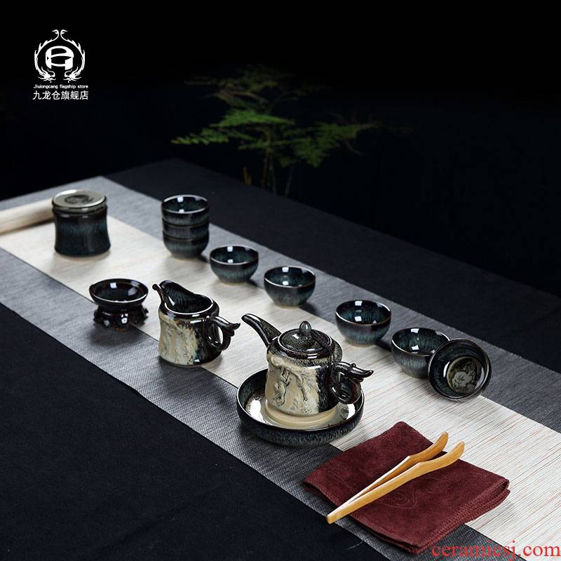 Jingdezhen kung fu tea set suit household creative ancient up teapot teacup red glaze ceramic small cups
