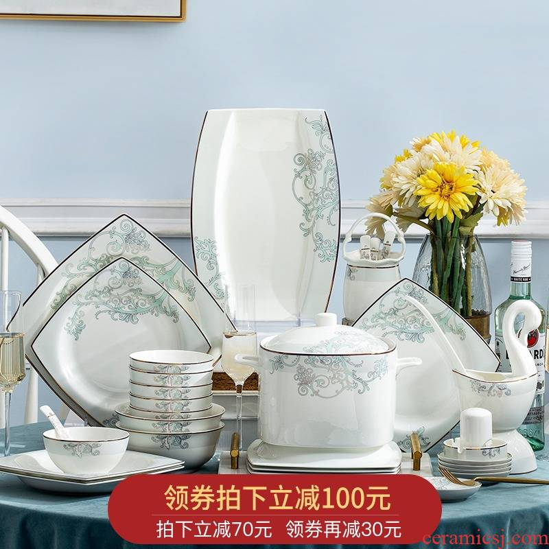Orange leaf jingdezhen ceramic tableware suit European dishes suit household bowls of ipads plate of western - style Vivian