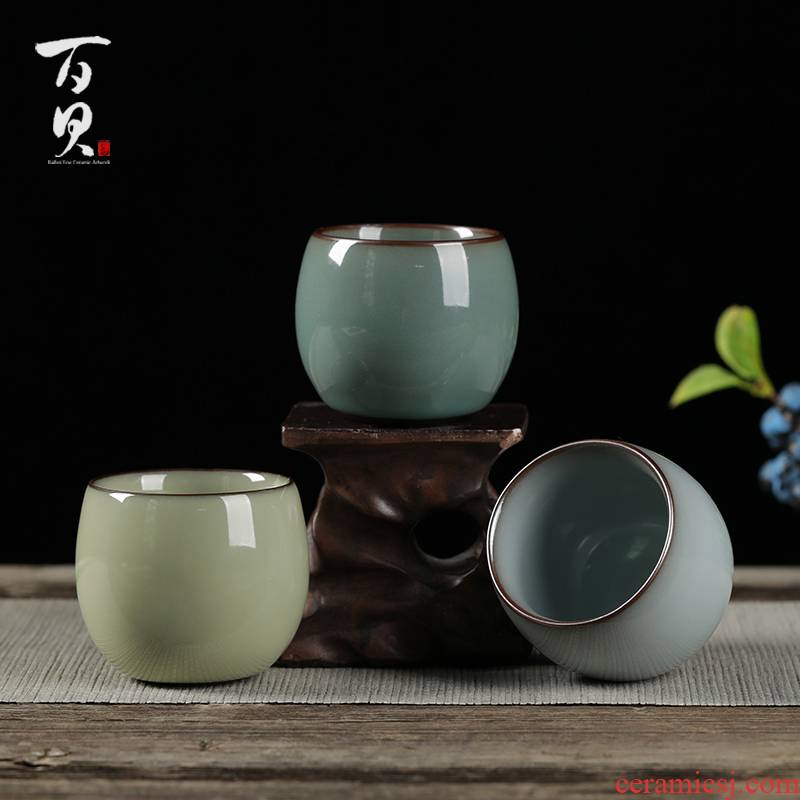 Up with tire iron ice tea cups of crack large ceramic kunfu tea tea sample tea cup, master cup single CPU move