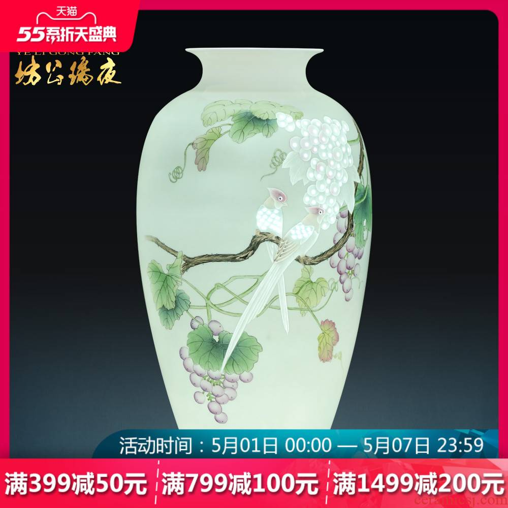 Jingdezhen ceramics hand - made famille rose fruit fragrance, vases, flower arrangement sitting room adornment of new Chinese style household furnishing articles