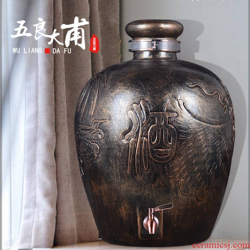 Ceramic jars 20 jins 30 jins of 50 kg terms bottle with tap jingdezhen Ceramic carved dragon it wine jar