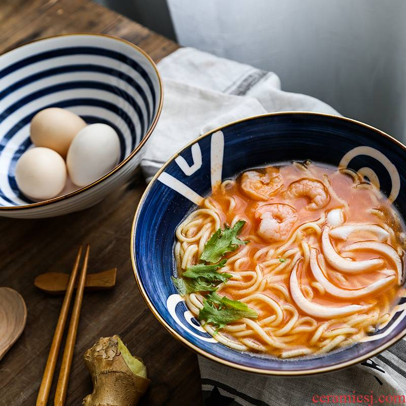 Japanese rainbow such use household individual creative hat to bowl of ceramic tableware web celebrity eat noodles bowl of sweet soup bowl salad bowl
