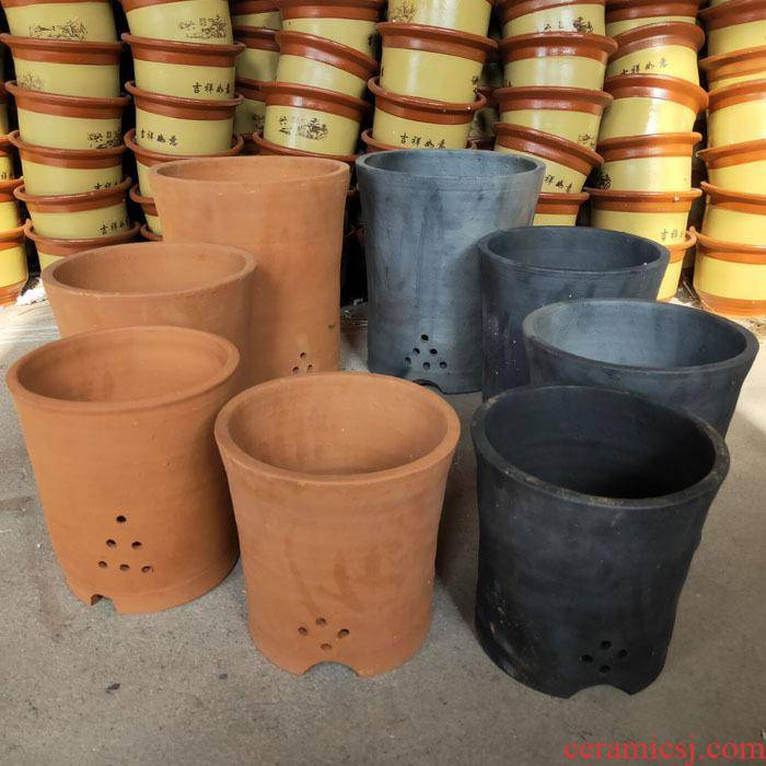 Made of baked clay basin king old mud clay ceramic orchid basin of coarse sand flowerpot special breathable clivia customization
