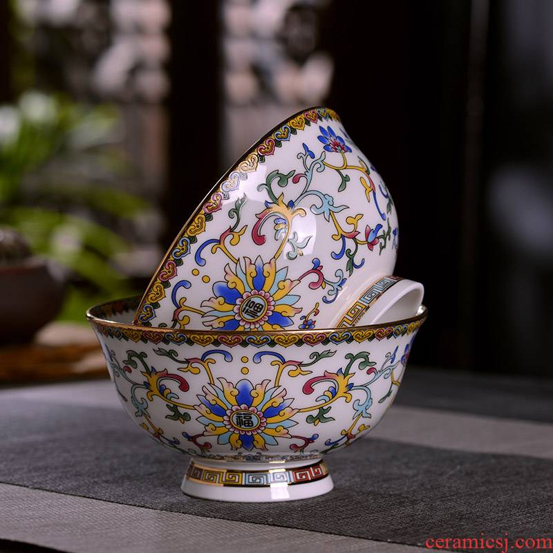 Jingdezhen ceramic famille rose around up phnom penh branch ceramic rice bowl rainbow such as bowl bowl of Chinese style household archaize tall bowl of tableware