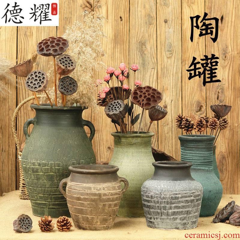 Ancient pottery coarse pottery dried flowers flower arrangement floret bottle ceramic flower pot sitting room hotel decorative furnishing articles a large earthenware jar