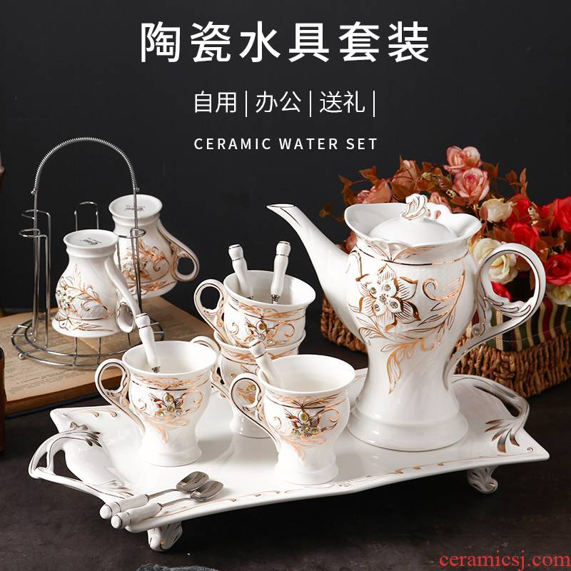Water with a suit ceramic cup tea tea set suit home European sitting room glass teapot cups coffee cup