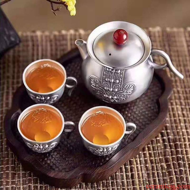 Xu S999 silver ink silver cup tea sets of household masters cup kung fu tea set insulation silver cups gifts