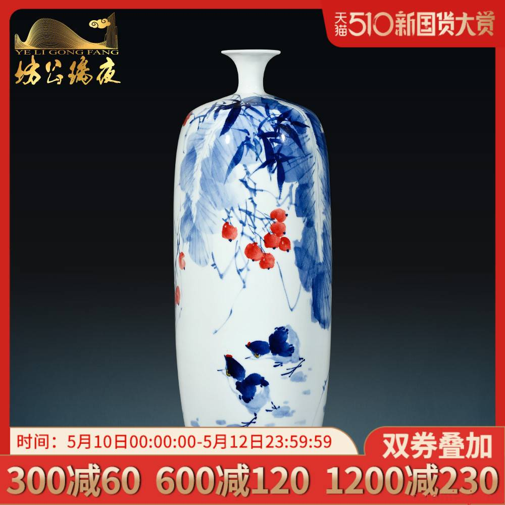 Jingdezhen ceramics by hand draw blue and white porcelain vase new sitting room of Chinese style household furnishing articles collection of ornaments